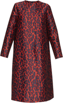 Lanvin A-line leopard-print brocade coat