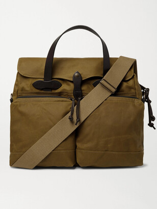 Filson 24-Hour Leather-Trimmed Coated-Canvas Briefcase - Men - Brown