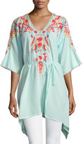 Johnny Was Cleopatra Embroidered V-Neck Tunic, Sky