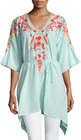 johnny was cleopatra embroidered vneck tunic sky