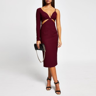 River Island Womens Red long sleeve one shoulder bodycon dress