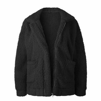 FIDOZ Women's Long Sleeve Coat Jacket for Autumn Winter Womens Full Zipper Teddy Warm Fleece Oversized Slim Fit Basic Jumper Cardigans Sweater Sweatshirt Tunic Tops Blouses Shirts with Pockets Black