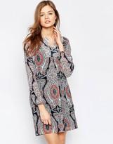 B.young Animal Print Long Sleeve Shift Dress