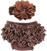 October Elf Baby Girl's Briefs Cotton Ruffle Bloomer and Headband Diaper Cover