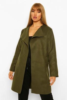 boohoo Belt Detail Wool Look Coat
