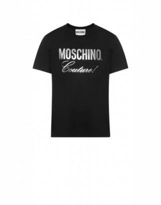 Moschino Jersey T-shirt With Silver Logo Man Black Size 44 It - (34 Us)