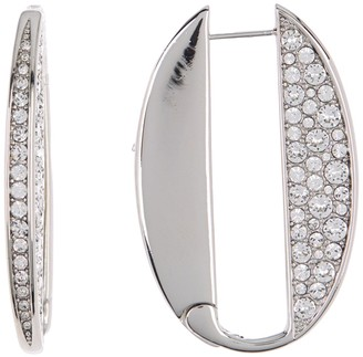 Carolee Diana Sterling Silver Pave Stone Hinged Link Earrings