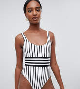 Asos Tall Contrast Mono Stripe Swimsuit