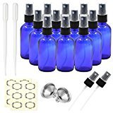 Pack of 12, 2 oz Cobalt Blue Glass Bottles with Black Fine Mist Sprayers by Mavogel,Including 2 Extra Black Fine Mist Sprayers, 2 Stainless Steel Mini Funnel, 2 Transfer Pipettes, 12 Bottle Labels