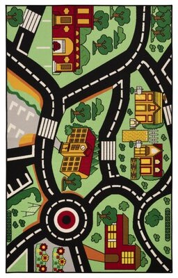 Zoomie Kids Polson Abstract Black/Red/Green Area Rug Rug Size: Rectangle 8' x 10'