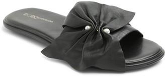 BCBGeneration Bow Detail Leather Slide Sandals- Eleni