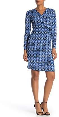 London Times Printed Jersey Mock Wrap Dress