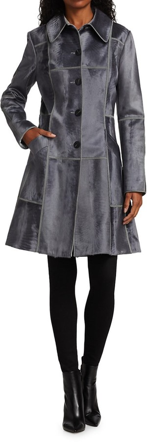 Thumbnail for your product : The Fur Salon Norman Ambrose For Leather Trim Lamb Fur Flare Coat