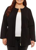 Liz Claiborne Collarless Ponte Jacket-Plus