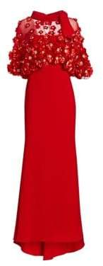 Badgley Mischka Women's Embellished Popover Gown - Deep Red - Size 2