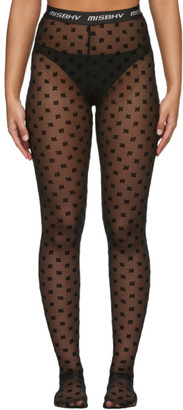 Misbhv Black Monogram Mesh High-Waisted Tights
