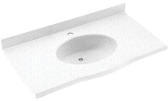 "Swan Europa Solid Surface 61"" Single Bathroom Vanity Top Top Finish: Arctic Granite"