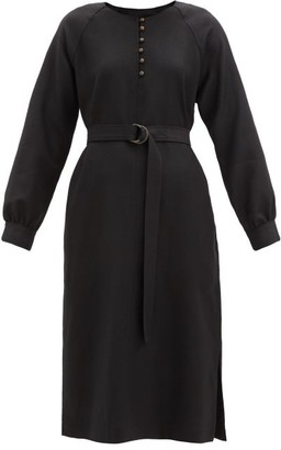 A.P.C. Nicolette Belted Wool-flannel Dress - Black