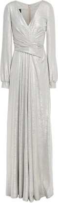 Talbot Runhof Wrap-effect Metallic Textured-jersey Gown