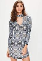 Missguided Grey Choker Neck Snake Bodycon Dress, Multi