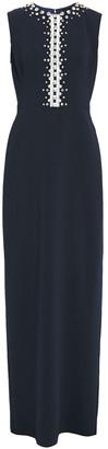 Jenny Packham Embellished Tulle-trimmed Crepe Gown