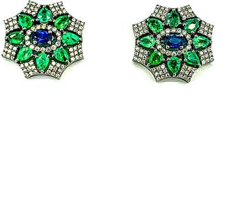 Arthur Marder Fine Jewelry Silver 4.56 Ct. Tw. Diamond & Gemstone Earrings