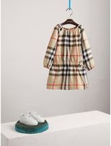 Burberry Gathered Check Cotton Flannel Dress , Size: 6Y, Beige
