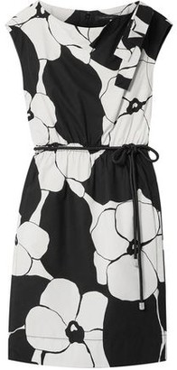 Marc Jacobs Belted Bow-embellished Floral-print Cotton-broadcloth Dress