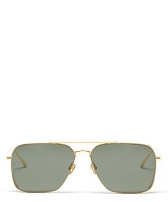 Linda Farrow Asher Aviator 22kt Gold-plated Titanium Sunglasses - Green Gold