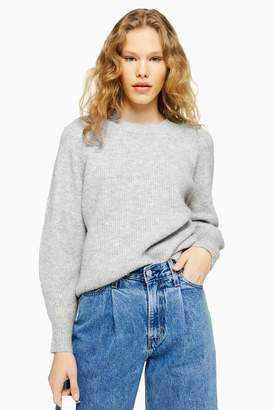 Topshop Womens Grey Super Soft Knitted Jumper - Grey Marl