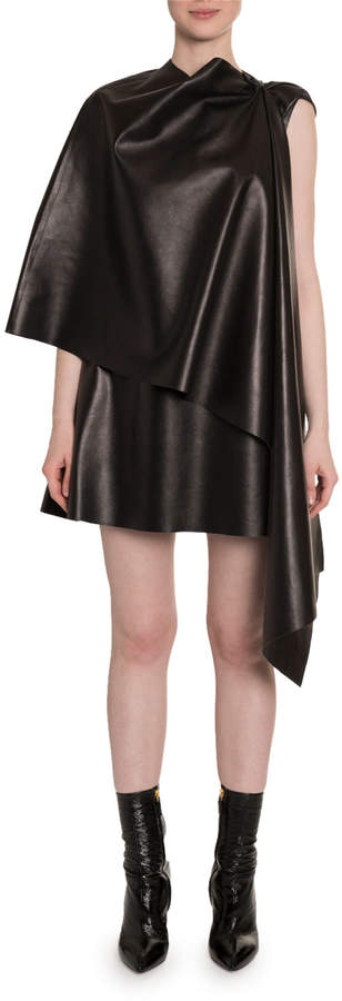 Valentino Leather Cape Dress
