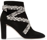 Jimmy Choo Heat Suede And Elaphe Ankle Boots - Black