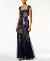 Adrianna Papell Petite Sequined Cutout-Back Gown