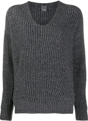 Lorena Antoniazzi Ribbed-Knit Lurex Jumper