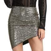 Liumilac LIUMILAC Women Sequin Short Skirt Glitter Bodycon Holiday Cocktail Party Skirt Gold XL