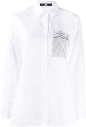 Karl Lagerfeld Paris Logo Patch Long Sleeve Shirt