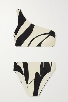 Haight Perlin One-shoulder Two-tone Printed Bikini - Black