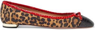Aquazzura Moss Leopard-print Suede And Croc-effect Leather Ballet Flats