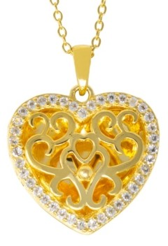 With You Lockets Mary White Topaz (1/5 ct. t.w.) Photo Locket Necklace in 14k Yellow Gold over Sterling Silver (Also Available in 14k Rose Gold over Sterling Silver)