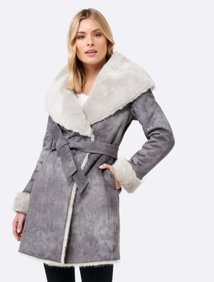 Forever New Maeve capelet shearling fur coat - Dove Grey - 4