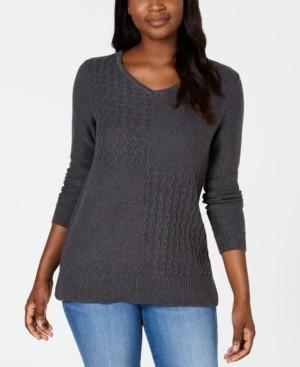 Karen Scott Cotton Mixed-Stitch Sweater, Created for Macy's