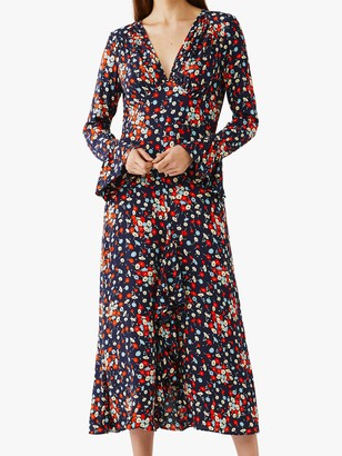 Ghost Flori Floral Print V-Neck Midi Dress, Navy/Multi