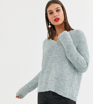 Fashion Union Tall tinsel knit relaxed jumper-Green