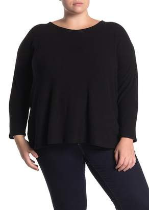 H By Bordeaux Ribbed Knit Long Sleeve Sweater (Plus Size)