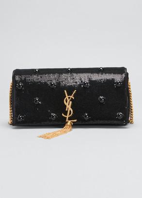 Saint Laurent Kate Supple 99 Monogram Sequin Satin Bag with Tassel