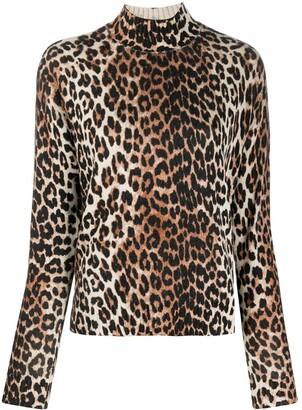 Ganni Leopard-Print High-Neck Jumper