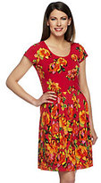 Isaac Mizrahi Live! Watteau Rose Printed Knit Dress