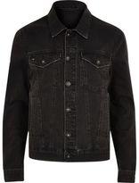 River Island Mens Black wash distressed denim jacket