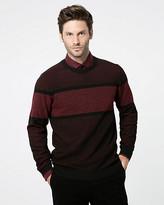 Le Château Textured Stripe Crew Neck Sweater