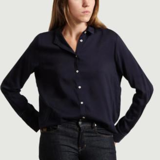 American Vintage Navy Blue Viscose Dorabird Shirt - m | viscose | navy blue - Navy blue